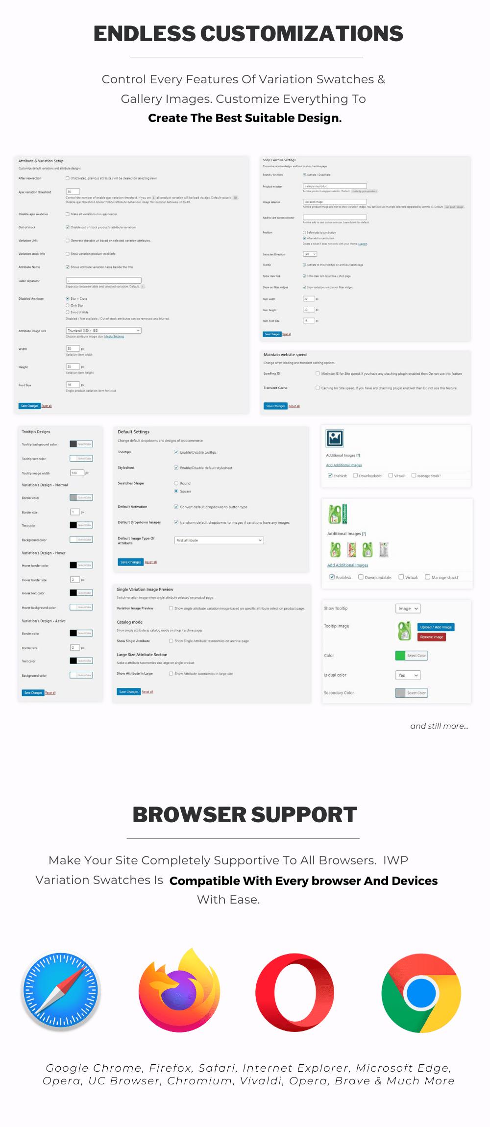 Variações adicionais do WordPress e imagens de amostras
